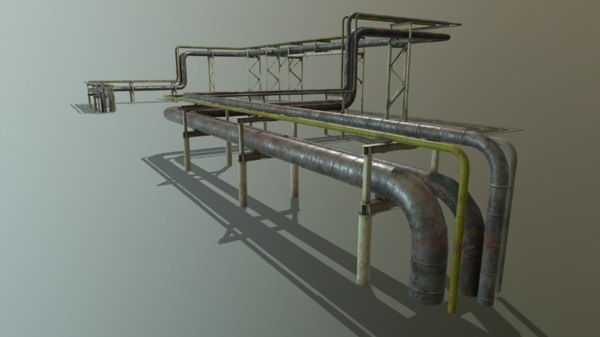 3D model pbr modular industrial pipeline
