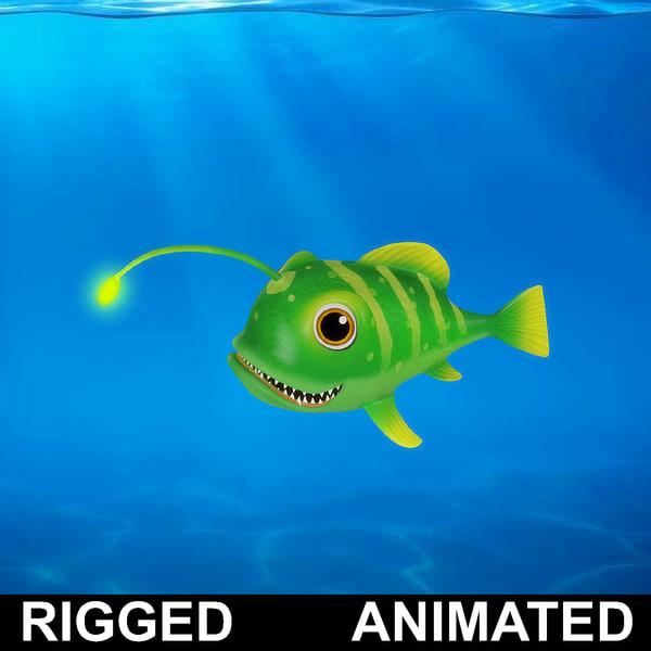 cartoon lantern fish rigged 3D model