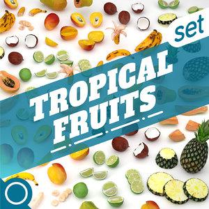 tropical fruits 3D model