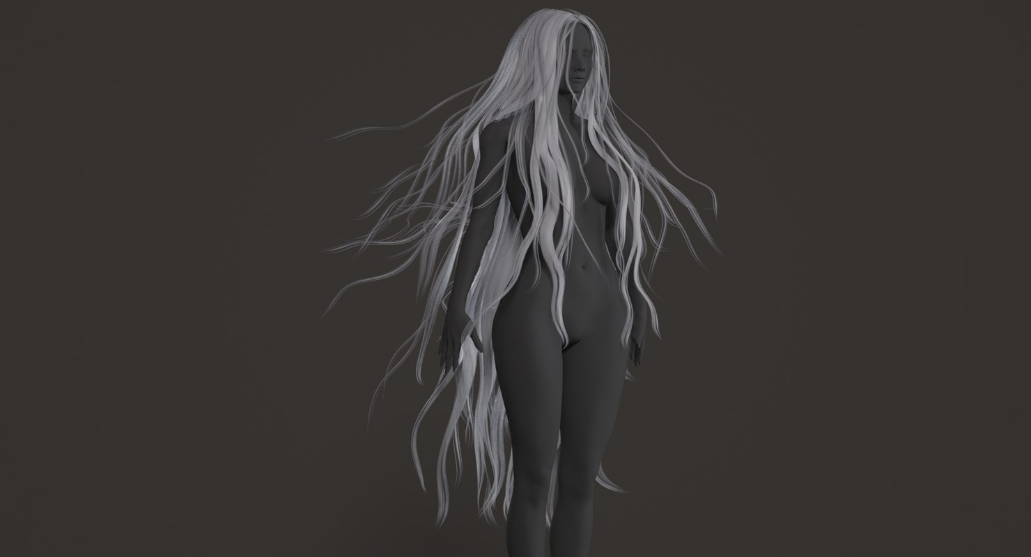 3D model realistical long woman hairstyle