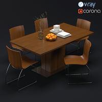3D model modern dining set corona chair