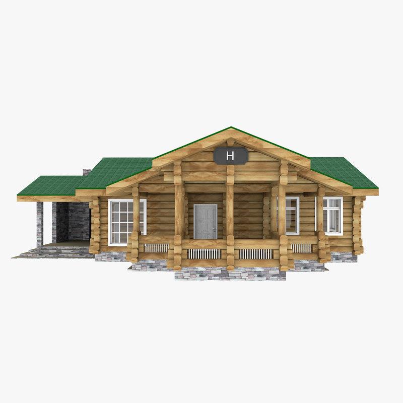 3D log house cabin model