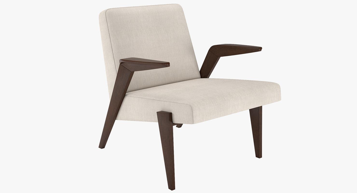 3D gisele wood chair mid-century