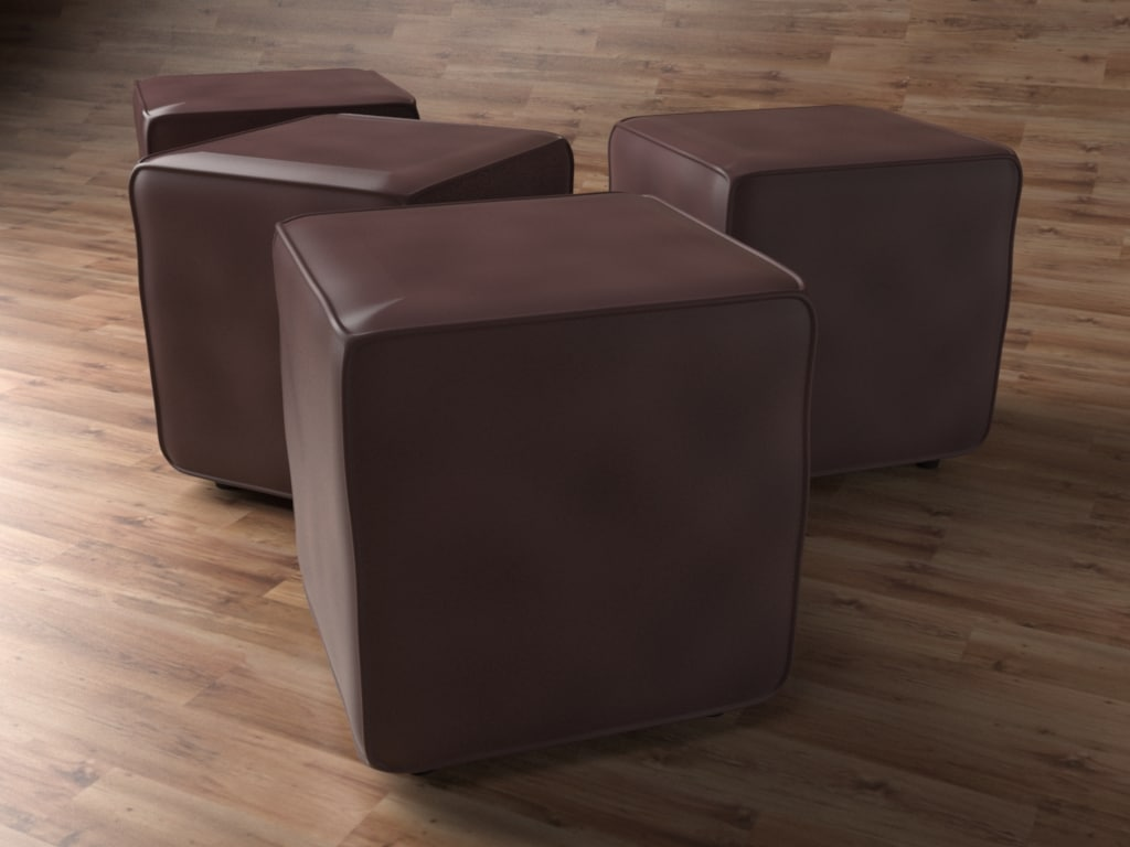 3D ottoman seats architectural interiors