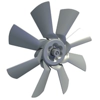 3D model engine cooling fan