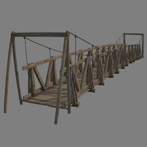 3D wooden suspension bridge model