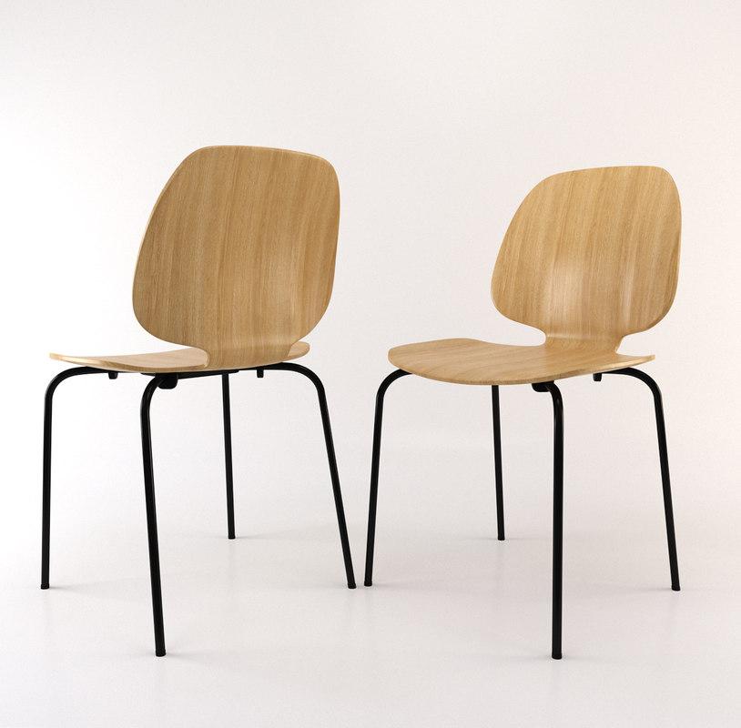 3D oak chair model