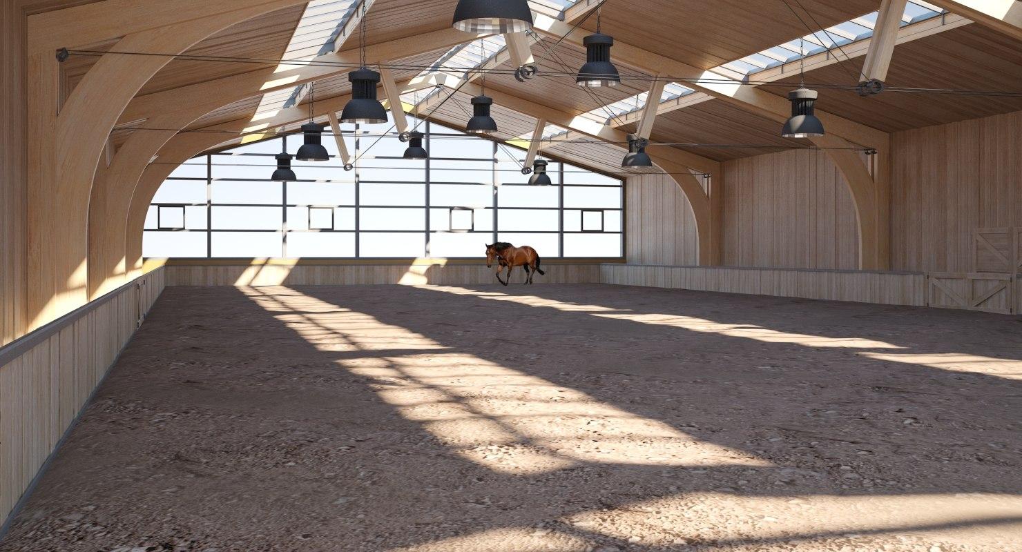 wooden horse arena 3D model