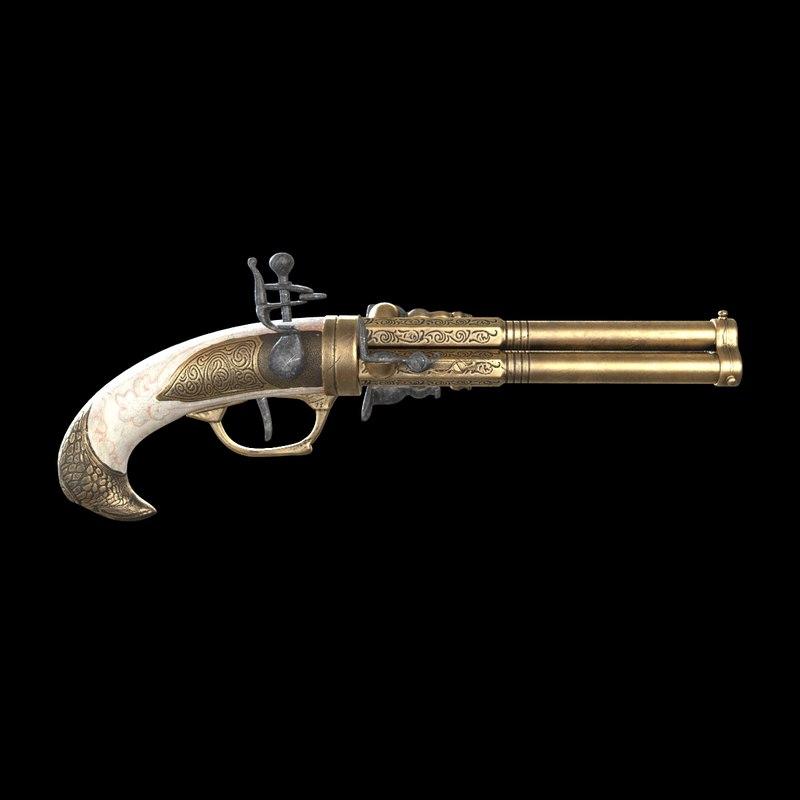 flintlock pistol kolser 3D model