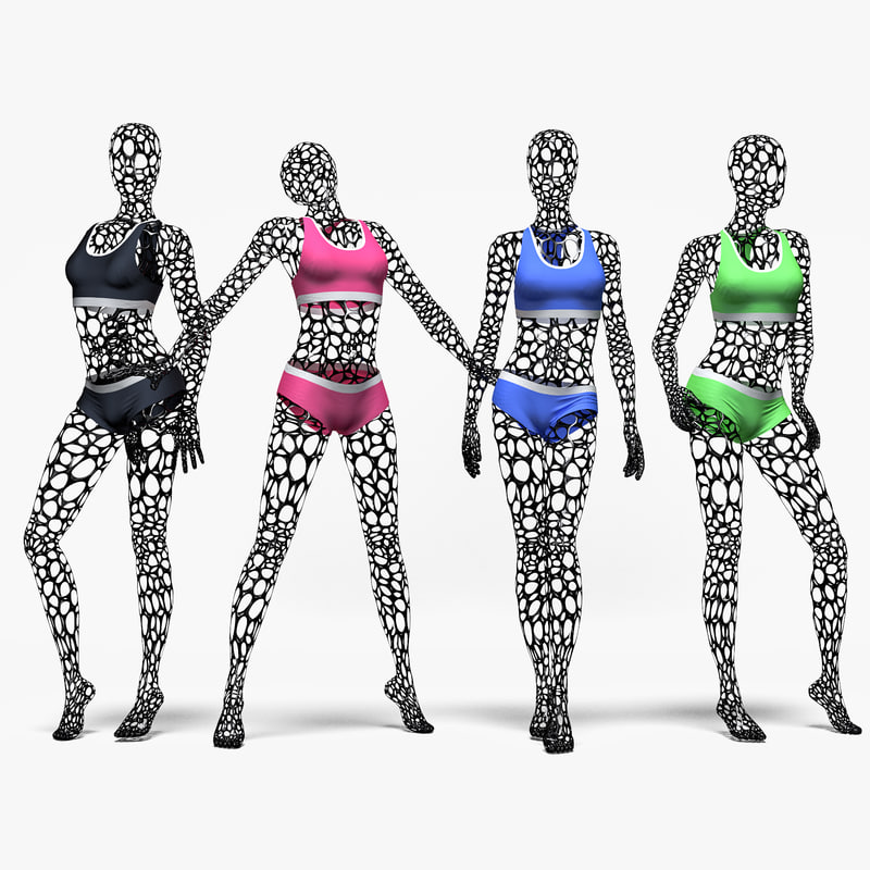 3D set female wire mannequin