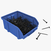 3D model plastic storage bin self-tapping