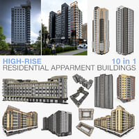 High-rise Residential Apartment Buildings 10 in 1 Collection