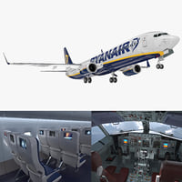 Boeing 737-900 with Interior Ryanair Rigged 3D Model