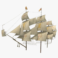 3D sail ship masts