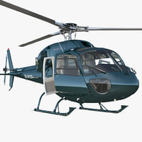 3D helicopter eurocopter as-355n rigged