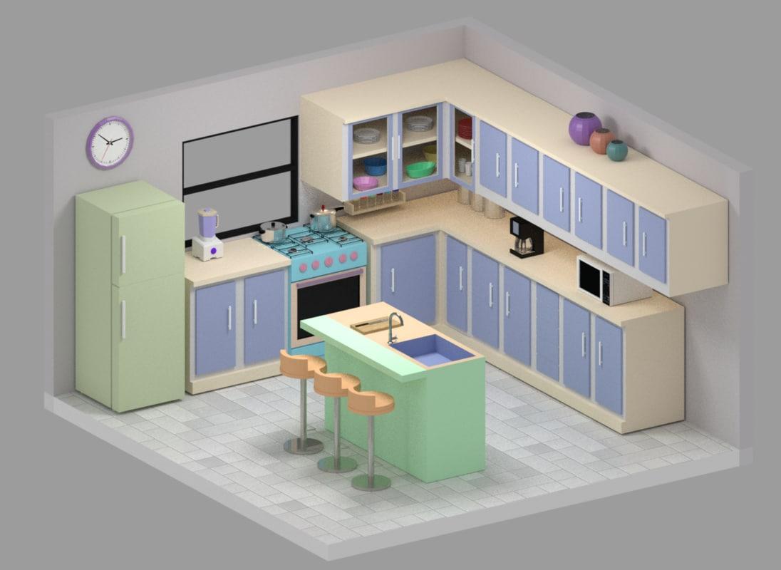 Kitchen cartoon 3D model - TurboSquid 1171821 on animated kitchen, cartoon clean kitchen, top cartoon from the kitchen, drawing of cartoon kitchen, cartoon restaurant kitchen, cartoon mother with a kitchen,