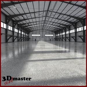 3D hangar world scene model