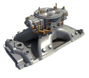 3D holley carburetor intake manifold model