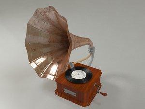 3D gramophone old gramo