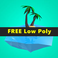 Coconut tree Island Low Poly Free VR / AR / low-poly 3D model