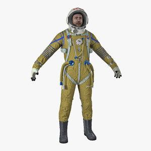 3D ussr astronaut wearing space suit model