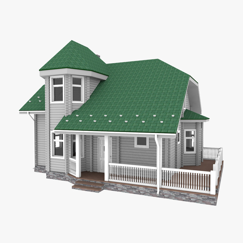 3D american small log house