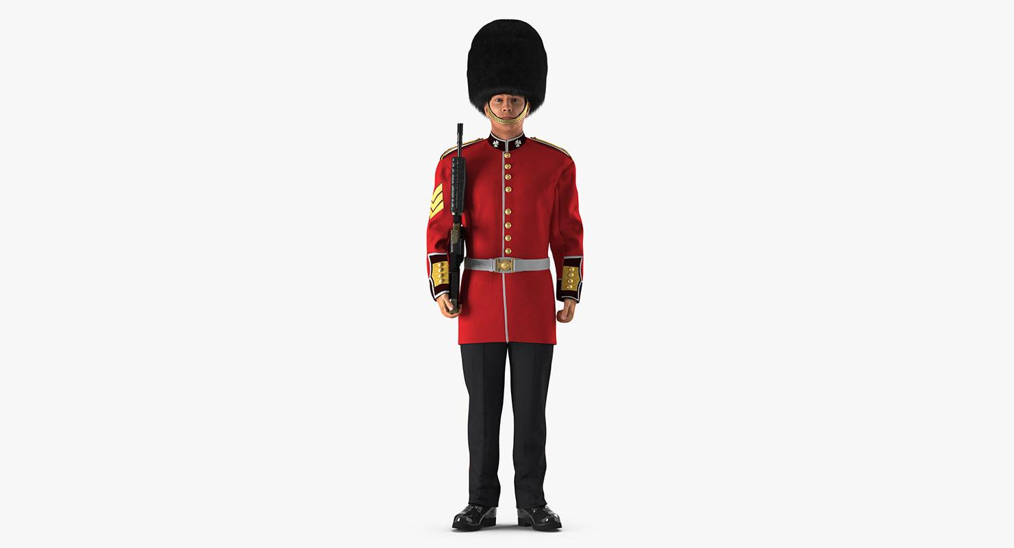 british royal guard holding 3D model