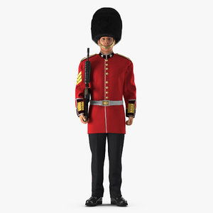 british royal guard holding 3D model