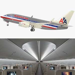 3D boeing 737-600 interior american airlines