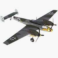 German WWII Heavy Fighter Messerschmitt Bf 110 3D Model