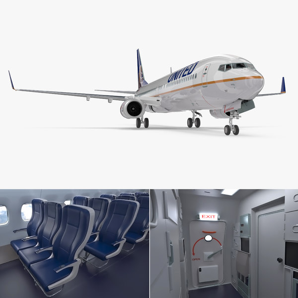 3D boeing 737-900 interior united airlines model