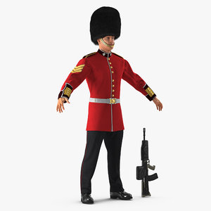 3D model british royal guard soldier