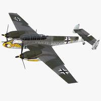 German WWII Heavy Fighter Messerschmitt Bf 110 Rigged 3D Model