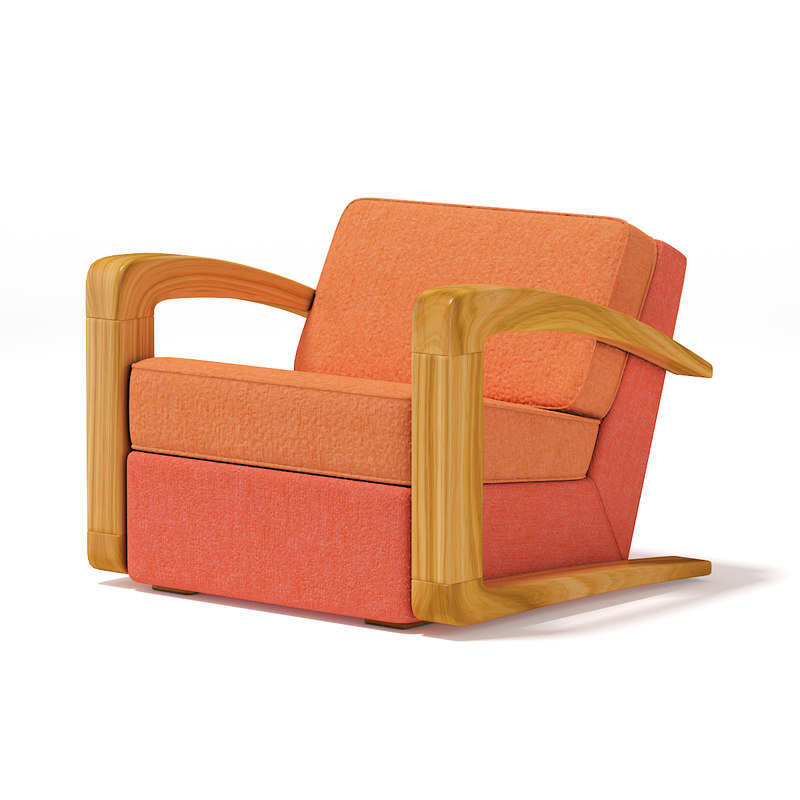 orange fabric armchair 3D model