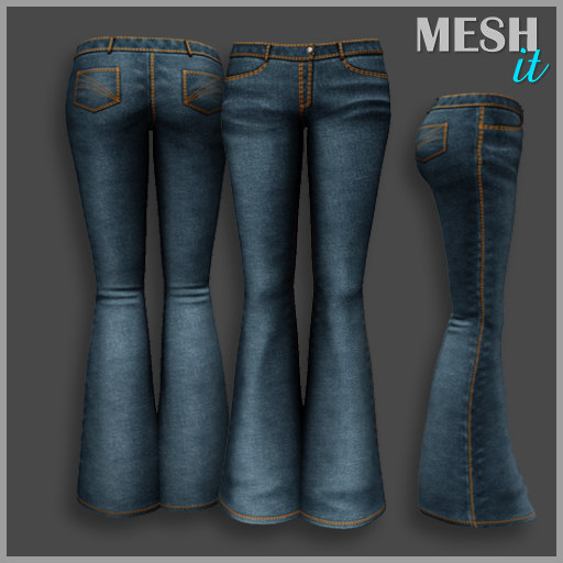 jeans flared 3D