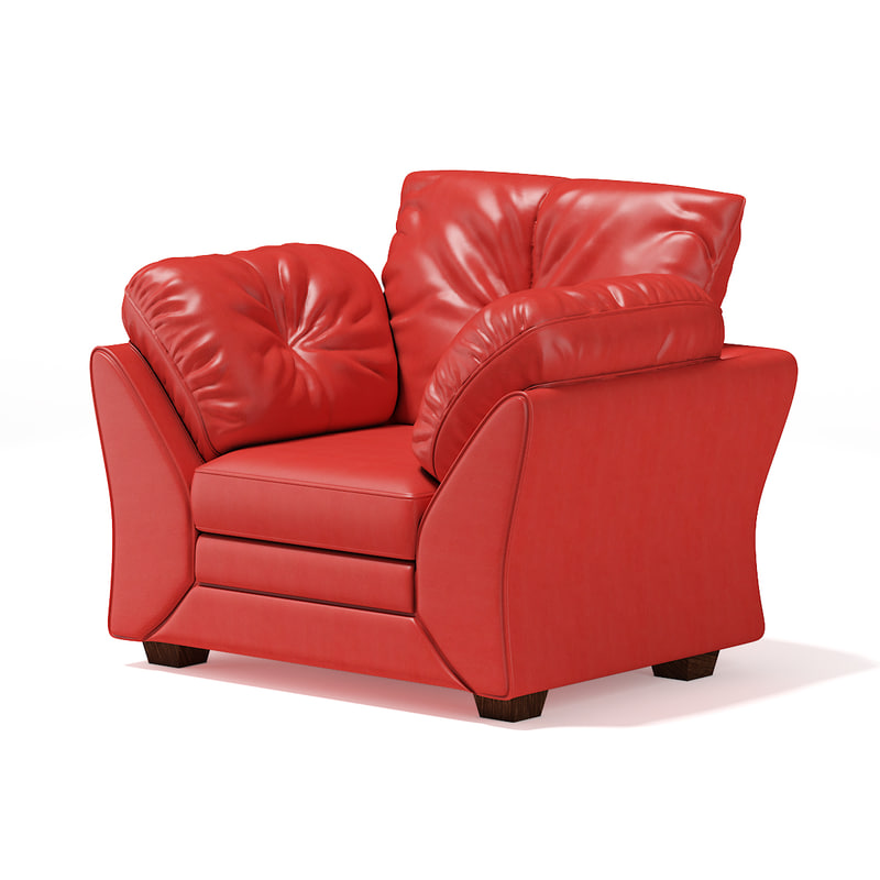 3D model red leather armchair