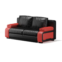 3D black red leather sofa