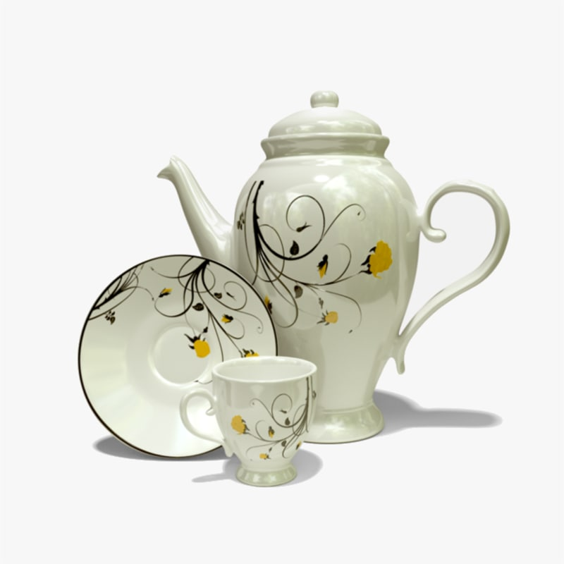 3D porcelain tea set