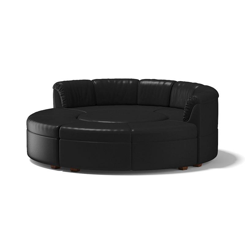 3D black sofa model