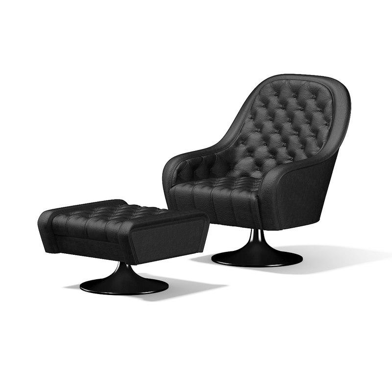 3D Black Leather Armchair Footrest