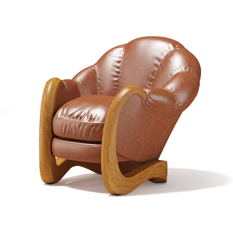 brown leather armchair 3D