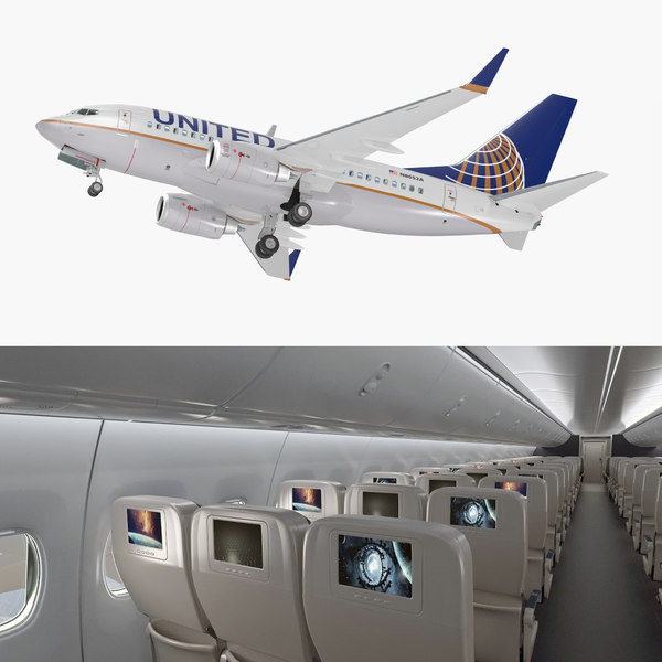 boeing 737-600 interior united airlines 3D model