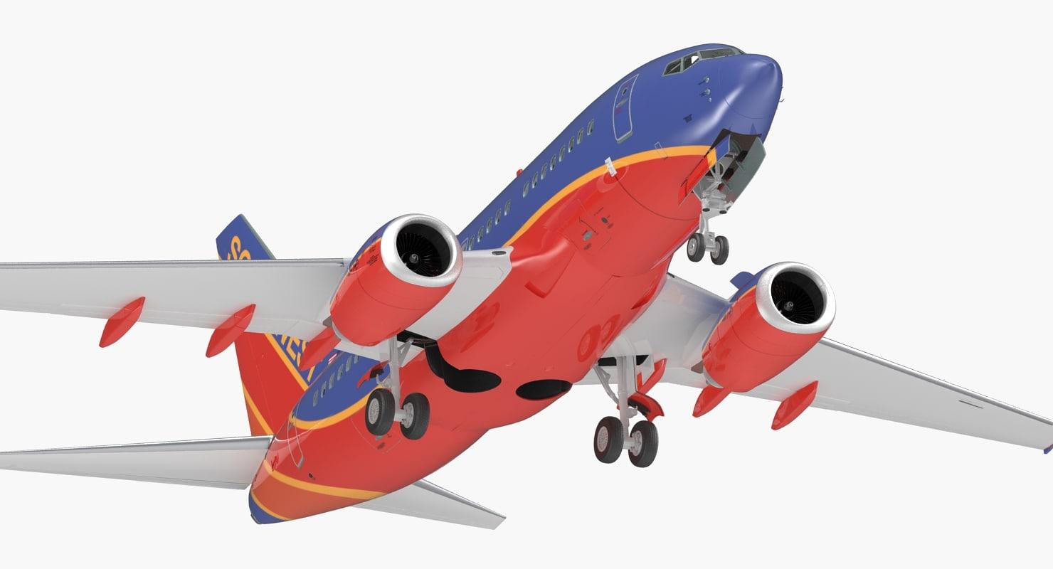 3D model boeing 737-600 interior southwest