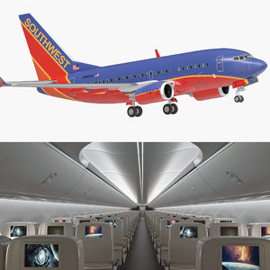3D boeing 737-600 interior southwest model