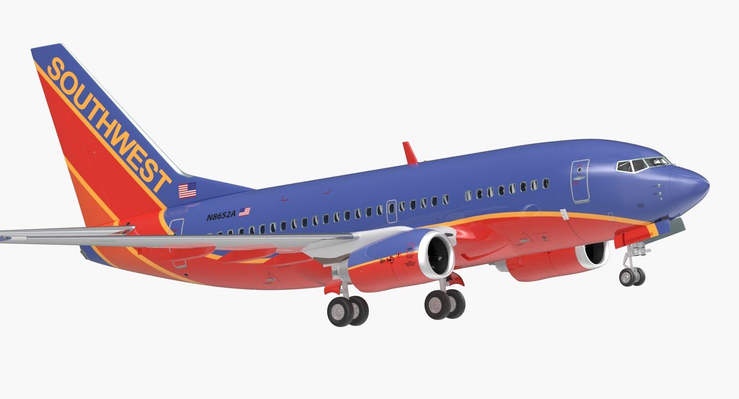 3D boeing 737-600 interior southwest model