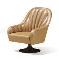 3D model beige swivel armchair