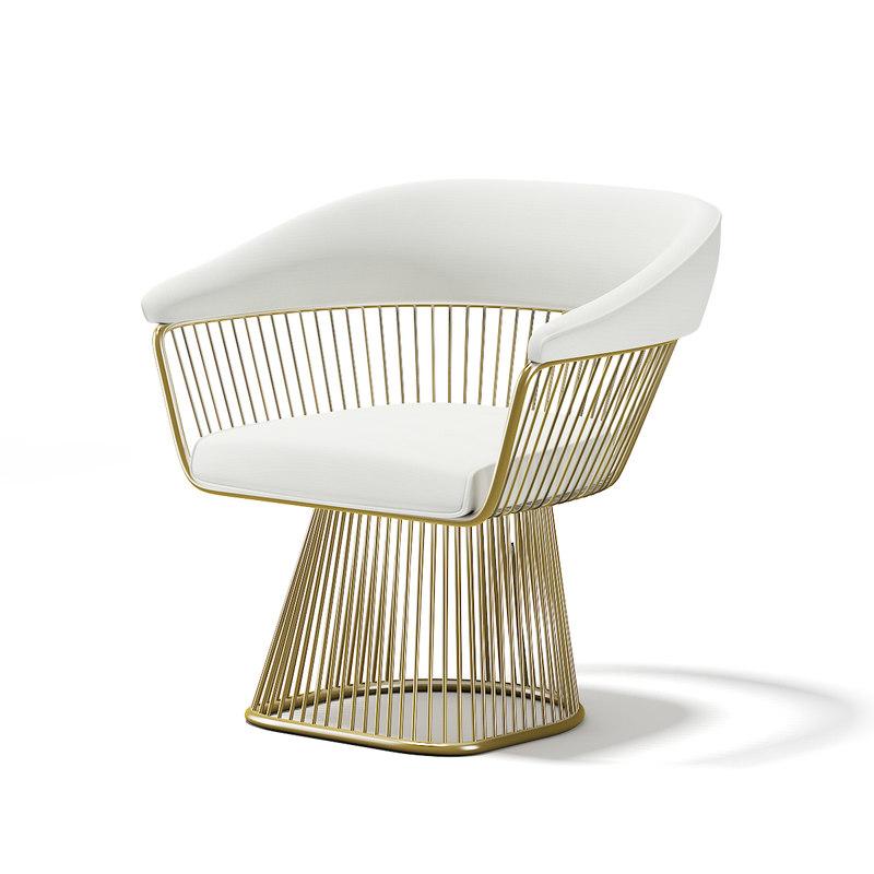 3D golden metal armchair model