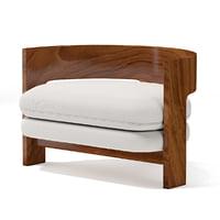 3D model half wooden armchair