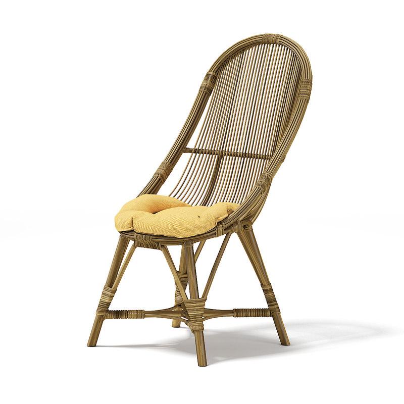 3D tall wicker chair model