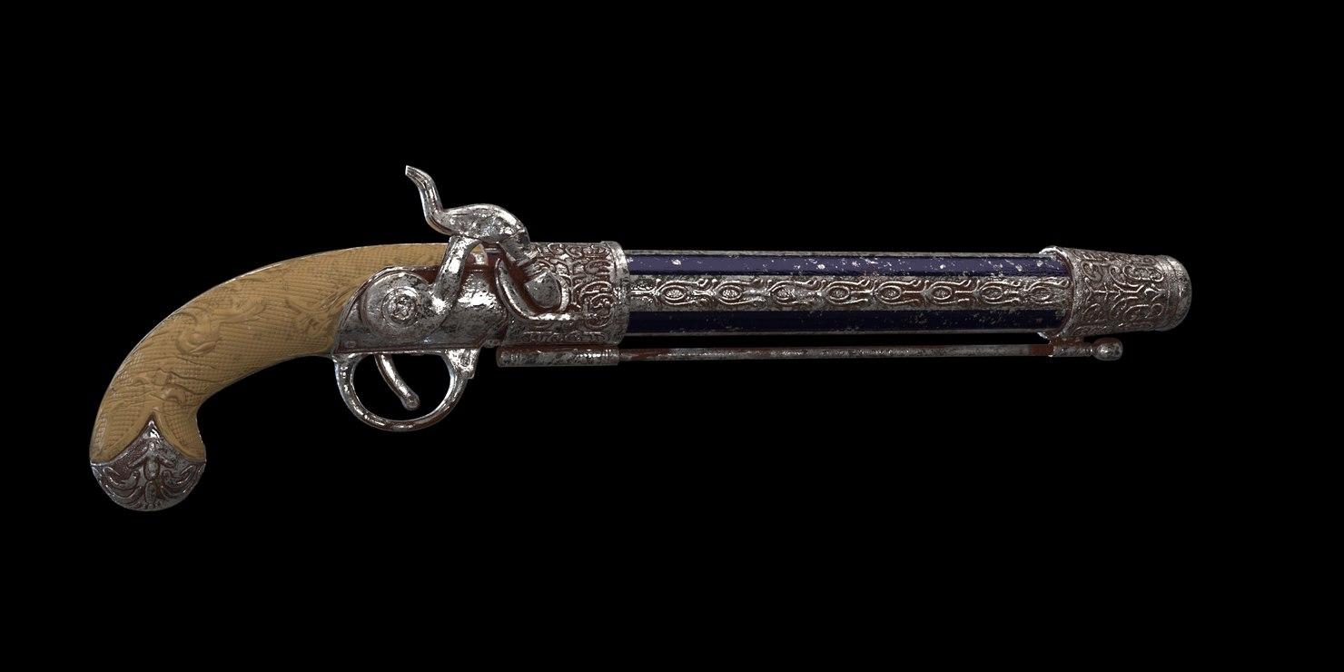 3D flintlock pistol pirate model